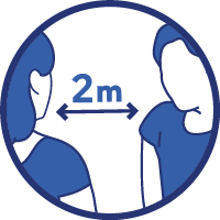 Respecter une distance d'au moins deux mètres avec les autres